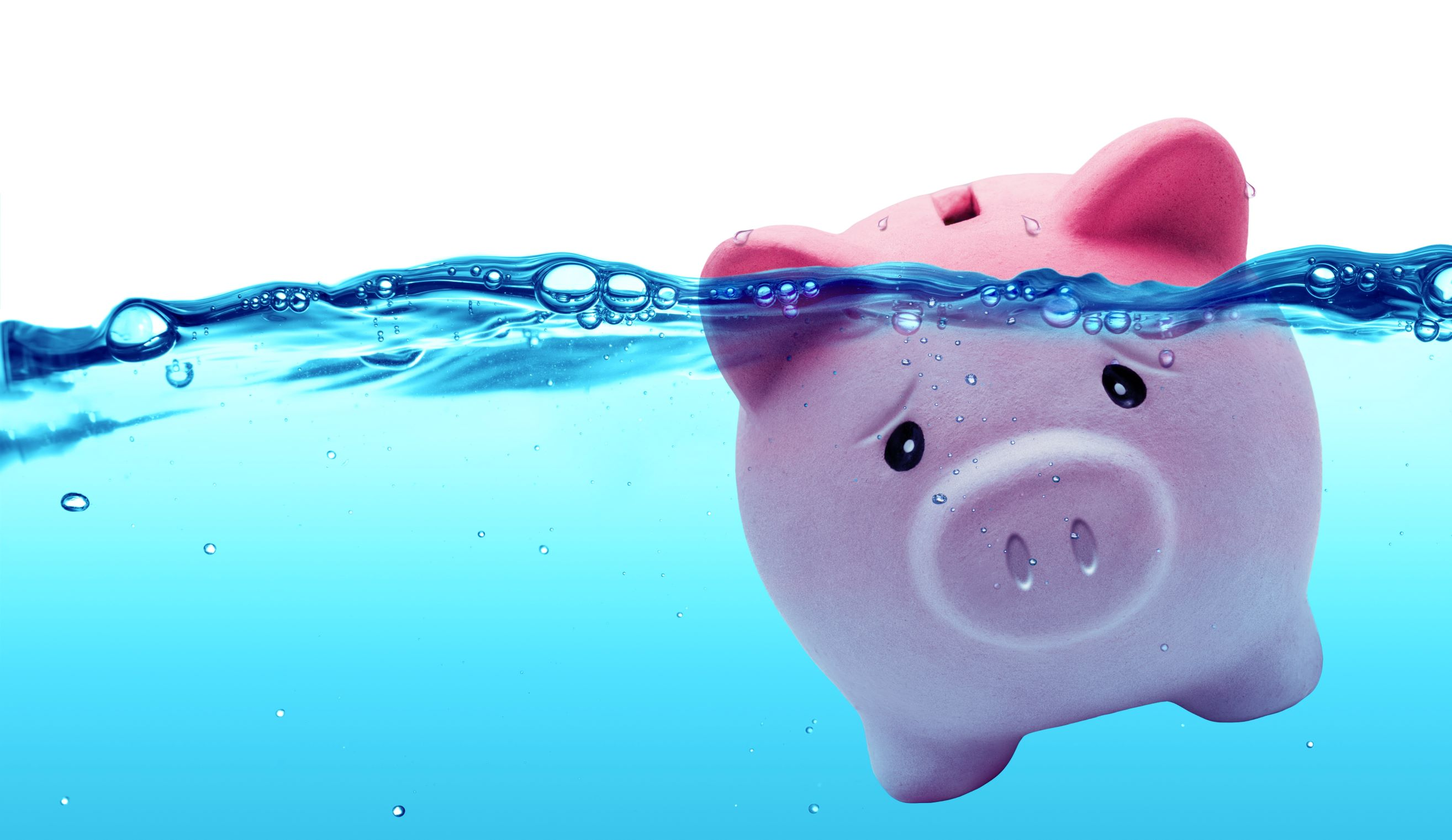 Piggy bank under water