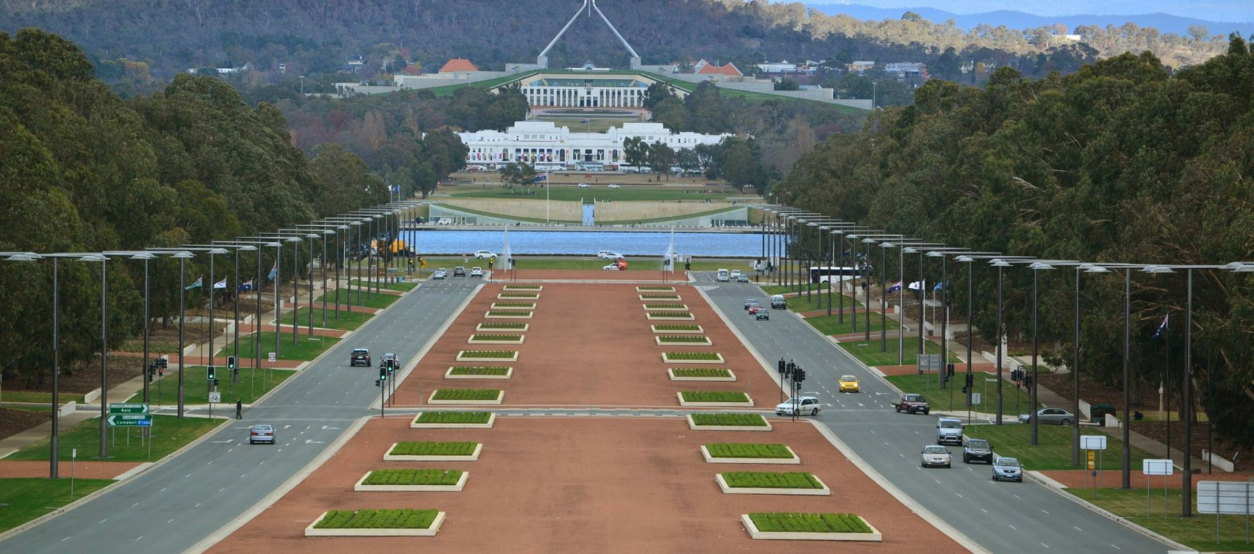 View down Anzac Parade to Parliament House