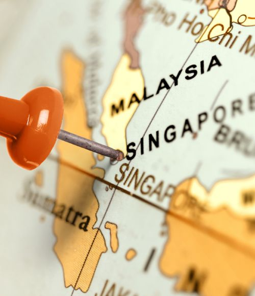 Singapore location pin on world map